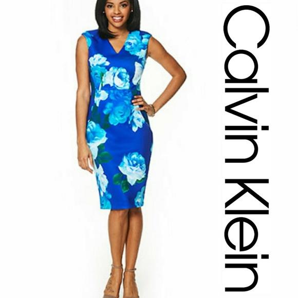 dcc282eb8e NWT Calvin Klein Floral Scuba Sheath Dress